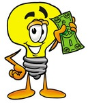 Clip Art Graphic of a Yellow Electric Lightbulb Cartoon Characte